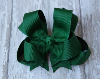 """Girls Hair Bow Hunter Green 4"""" Boutique Layered Hairbow"""