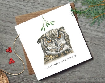 Mistletoe Christmas Cards - Funny Christmas Cards - Wife Christmas Card - Husband Christmas Card - Funny Christmas Cards - Mistletoe - Owl