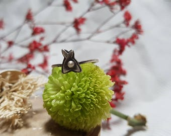 Sterling Silver Tiny Moth Ring Stacker