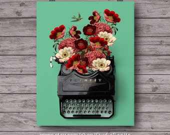 Vintage typewriter botanical poster dorm office . gift for a writer . printable collage . instant download unique wall art . lovely floral