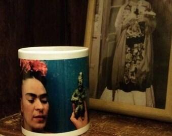 Frida coffee mugs, frida sugar skull coffee mug, day of the dead coffee mugs, chicago sugar skull flag.  Coffee Mug - 11oz.