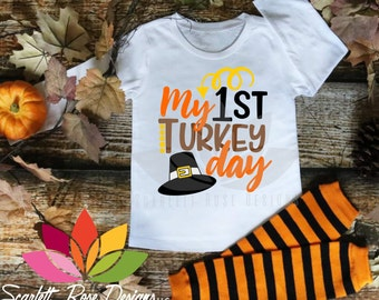 Thanksgiving SVG, My First Turkey Day, Pilgrim Hat, Boy girl shirt for silhouette cameo and cricut