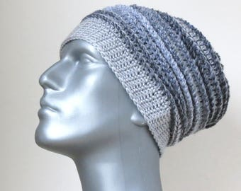 Men's Gray Winter Hat, Warm and Chunky Crochet Beanie