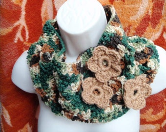 Kallie Flower Cowl in Warm Brown Woodsy