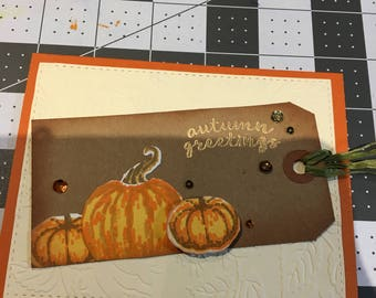 Autumn Greetings - Pumpkins and Tag