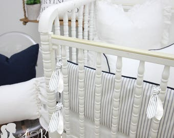 Farmhouse Navy & White Ticking Stripe 2-in-1 Crib Bumper/Rail Cover | Convertible Gender Neutral Baby Bumper Set | Farmhouse Crib Bumper Set