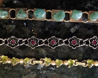 Vintage lot of stoned bracelets