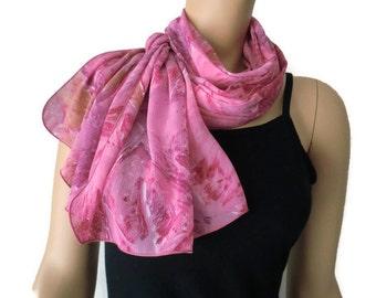 Pretty pink long chiffon scarf-Parisian Neck Tissu