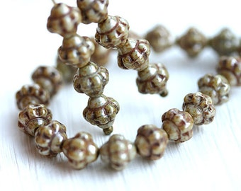Picasso bicone beads, rustic czech glass, luster green beige bicones, pressed beads - 6mm - 30Pc - 2276