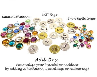 Add a Birthstone, Initial Charm, Tag, or Pearl To Your Bracelet or Necklace, Customization Add on