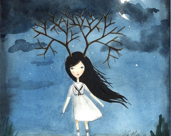 Girl with Antler Branches - Lonely Fairytale, Art Print 5x7 , Watercolor illustration, Dark Night, Gloomy, Curse