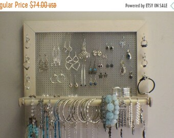 ON SALE Beautiful Pickled, Jewelry Organizer with Bracelet Bar, Stained Wall Mounted Jewelry Organizer and Holder