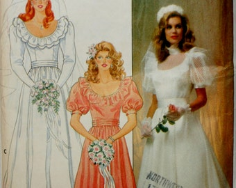 Butterick 4765 Misses Vintage 1980's Wedding Dress Sewing Pattern New/Uncut Size 14