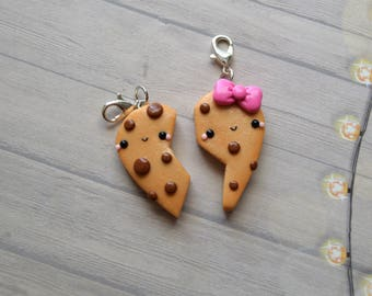 BFF Charms, Kawaii Cookie, Polymer Clay Cookie, BFF Gift, BFF Set, Clay Charm, Cookie Keychain, Miniature Food, Best Friend Necklace,