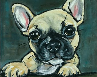 French Bulldog Art Print.  French Bulldog canvas or paper art print. Frenchie art print. Whimsical French Bulldog art, Frenchie puppy art