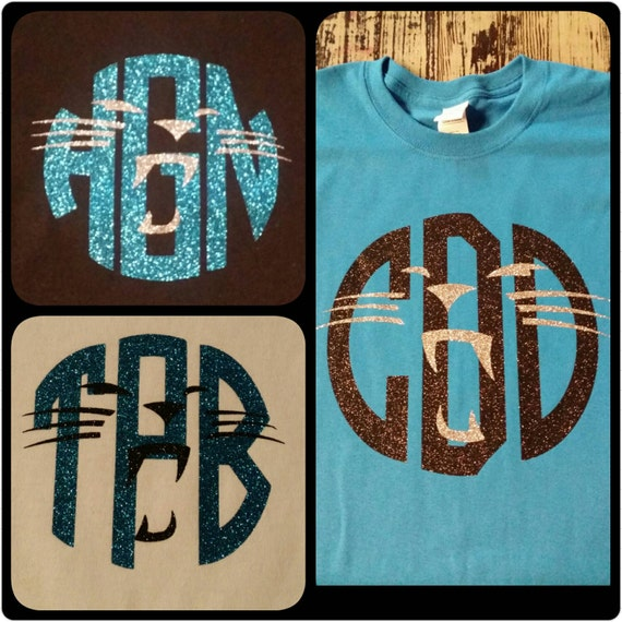 SHORT Sleeve - FULL Chest Design - Panthers (INSPIRED) Monogrammed Tee