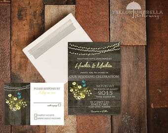 Rustic Mason Jar Floral Wedding Invitation with RSVP Card and Envelopes