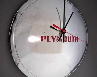 Plymouth Hubcap Clock - 1948 - 1950 Classic Car Wall Clock