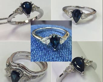 14k White Gold Diamond And Sapphire Engagement Ring