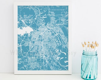 Shreveport map Etsy