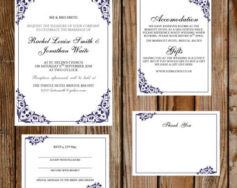 DIY wedding template set - (Flora) blue – instant DOWNLOAD - Printable Microsoft word templates - invite, rsvp, info card and thank you card