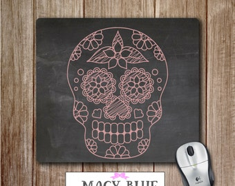 Day of the Dead Mouse Pad 2, Skull Mouse pad, Office Accessories, Desk Accessories, Teacher Gifts, Gift for Teacher, Gift for Her
