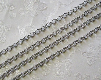 Antique Silver Plated Round Rolo Chain 4mm 375