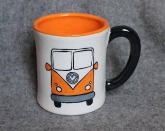 mug, vw van, orange, let's get lost!, whimsical mug, birthday mug, coffee mug, hot cocoa, coffee club, hot tea drinkers, teacher gift