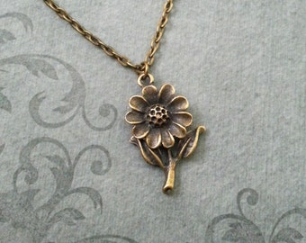 Daisy Necklace SMALL Daisy Jewelry Daisy Pendant Bronze Daisy Charm Flower Necklace Brass Necklace Bridesmaid Necklace Flower Girl Gift
