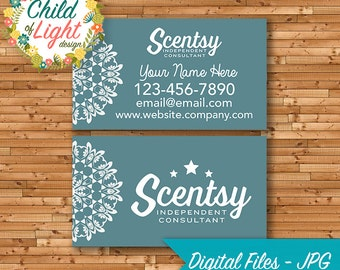 Scentsy business card etsy authorized scentsy vendor business cards custom business card teal mandala personalized cards print your own reheart Image collections