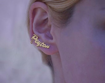 Name earrings,Earrings initial,Name ear studs,10k ear crawlers, name ear climbers, name ear pins,