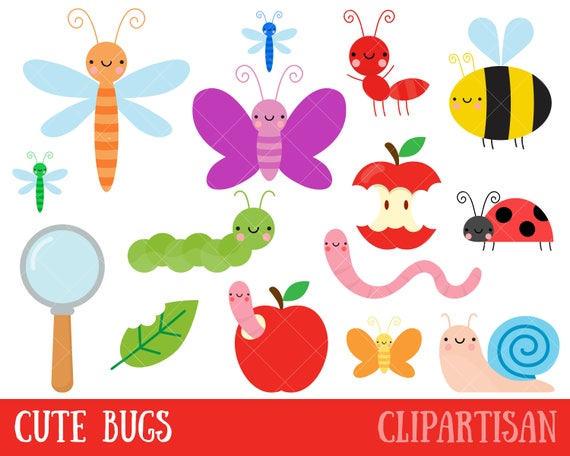 bug clipart cute bugs clipart insect clipart rh etsy com Cute Flower Clip Art cute lightning bug clipart