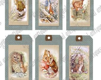 Beatrix Potter animaux Image Tags imprimable téléchargement numérique