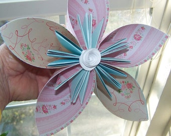 Large 12 Inch Origami  Paper Flowers Customized for Your Celebration Tables or Flower Girl Wands