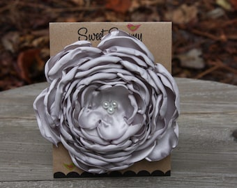 34 Colors Large Satin Flower Pin, Silver Gray Satin Flower Pin