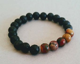 Jasper Picasso 8mm Diffuser Bracelet with Lava Beads