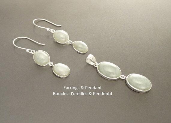 NATURAL Jade Earrings Set Sterling Silver Healing stone NOT-DYED Jade Light Gemstone Minimalist Pendant Real Green Jade Stone Modern Jewelry