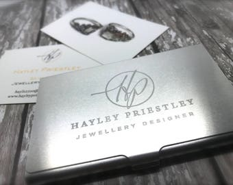 Business card holder etsy personalised aluminium business card holder corporate gift engrave your own logo reheart Images