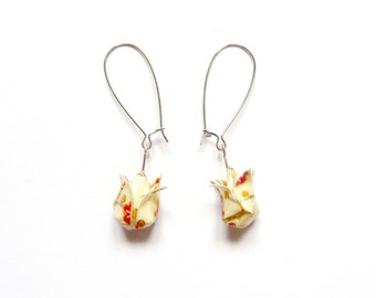 Origami Earrings Beige flowers