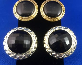 EARRINGS - CLIP On -2 Pair Vintage Clip-On Earrings - Round Black with Gold & Facet Black with Silvertone
