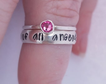 Miscarriage Ring, Mommy of an Angel Ring, Baby Loss Ring, Infant Loss Memorial, Personalized Sterling Silver Ring, Miscarriage Memorial