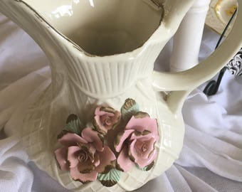 Shabby Chic Cream Pitcher w/ Sculptured Roses