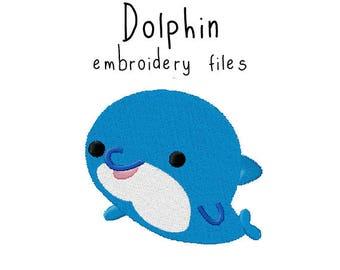Dolphin EMBROIDERY MACHINE FILES pattern design hus jef pes dst all formats ocean aquarium sea animal Instant Download digital applique cute