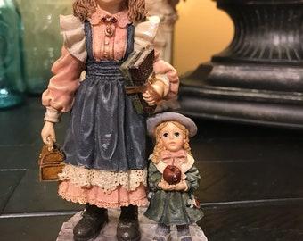 Vintage Yesterdays Child Figurine Laura with Jane... First Day of School