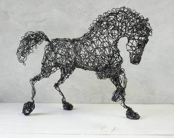 Wire sculpture, Horse sculpture, Black wire horse, Gift mom, Metal Sculpture, Rustic, Contemporary Decor, birthday gift, steampunk decor