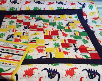 Handmade baby quilt - Dinosaurs in primary colors