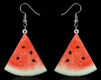 Fruit Slice Beach Tropical Dangle Earrings Hypoallergenic Acrylic Multiple Options