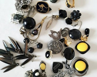 Vintage Embellishments Black, Buttons, Pins, Earrings, Charms, Brooches