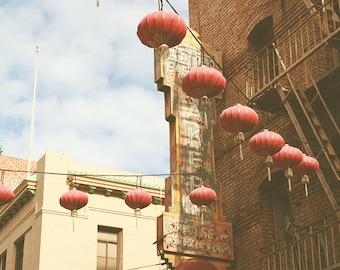 Chinatown Red Lanterns, Paper Lanterns on Wire, Downtown San Francisco 8x12 10x15 12x18 16x24 Fine Art Travel Photograph
