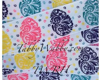 "Spring Eggs Victorian Scrolls Swirls 5 yd's 7/8"" on white GG ribbon"